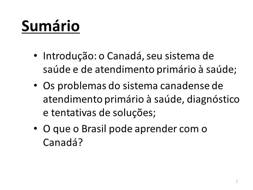 Sumário Introdução: o Canadá, seu sistema de saúde e de atendimento primário à saúde; Os problemas do sistema canadense de atendimento primário à saúd