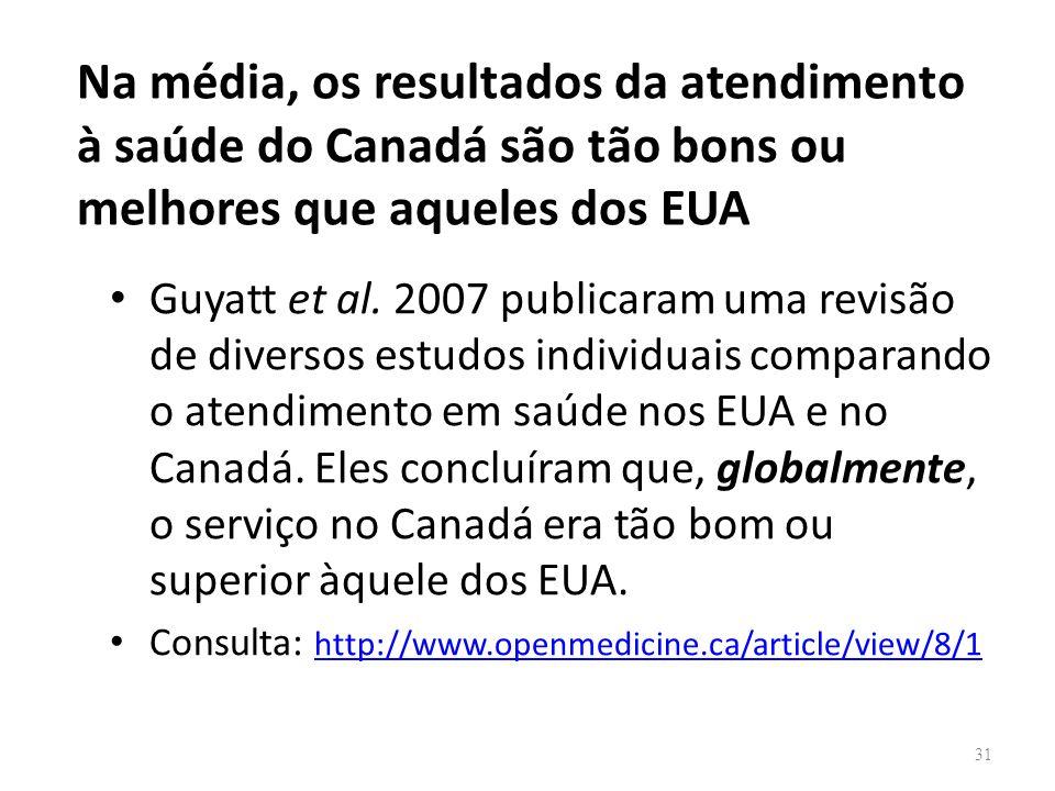 Na média, os resultados da atendimento à saúde do Canadá são tão bons ou melhores que aqueles dos EUA Guyatt et al. 2007 publicaram uma revisão de div