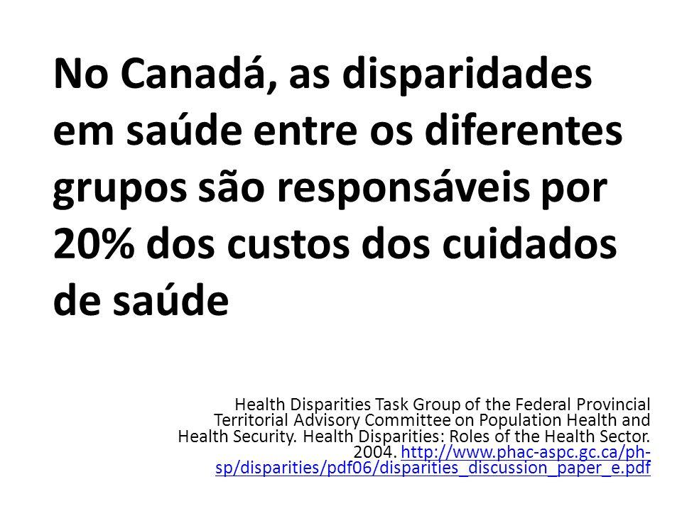 No Canadá, as disparidades em saúde entre os diferentes grupos são responsáveis por 20% dos custos dos cuidados de saúde Health Disparities Task Group