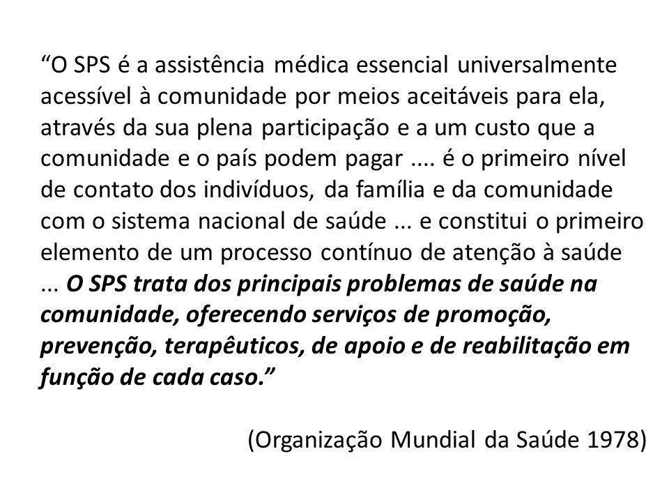 O SPS é a assistência médica essencial universalmente acessível à comunidade por meios aceitáveis para ela, através da sua plena participação e a um c