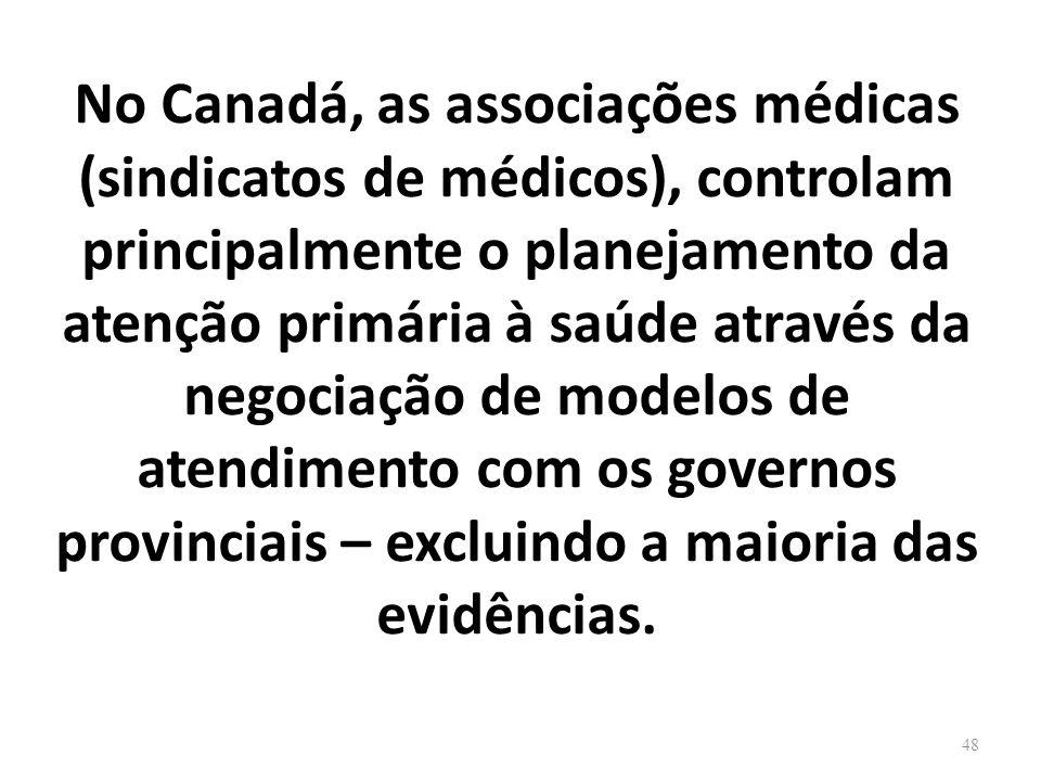 No Canadá, as associações médicas (sindicatos de médicos), controlam principalmente o planejamento da atenção primária à saúde através da negociação d
