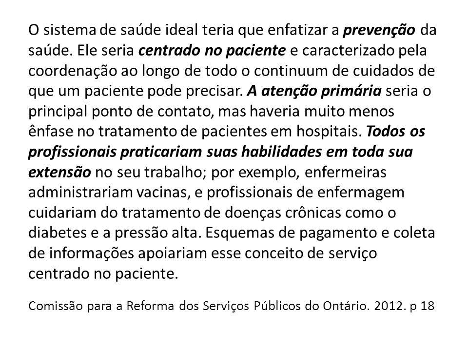 O sistema de saúde ideal teria que enfatizar a prevenção da saúde. Ele seria centrado no paciente e caracterizado pela coordenação ao longo de todo o
