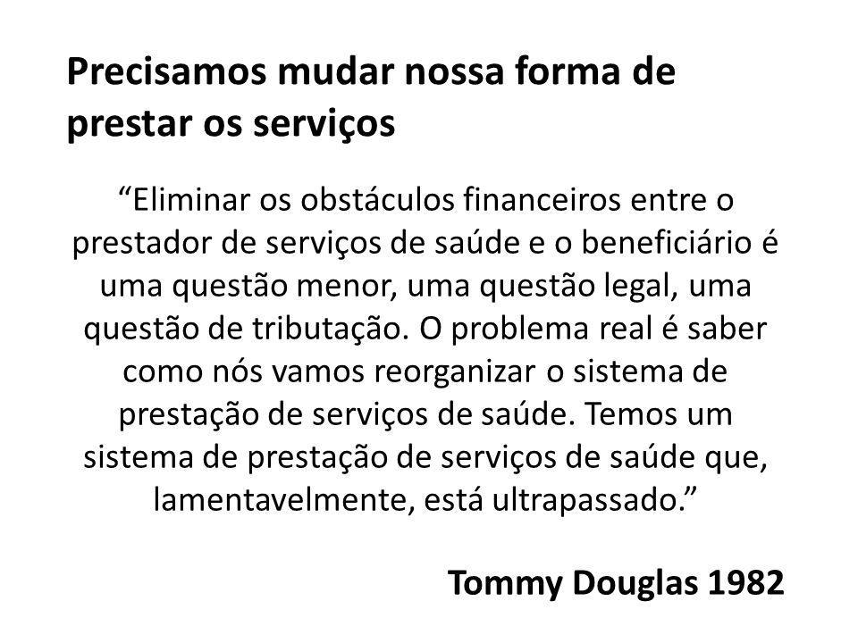 Precisamos mudar nossa forma de prestar os serviços Eliminar os obstáculos financeiros entre o prestador de serviços de saúde e o beneficiário é uma q