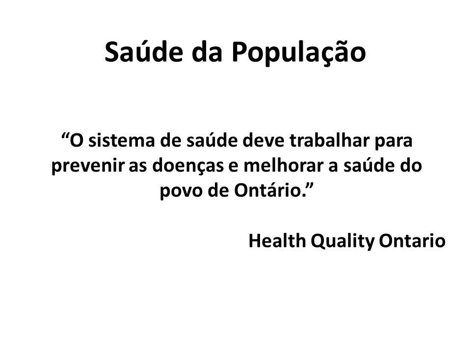 Saúde da População O sistema de saúde deve trabalhar para prevenir as doenças e melhorar a saúde do povo de Ontário. Health Quality Ontario