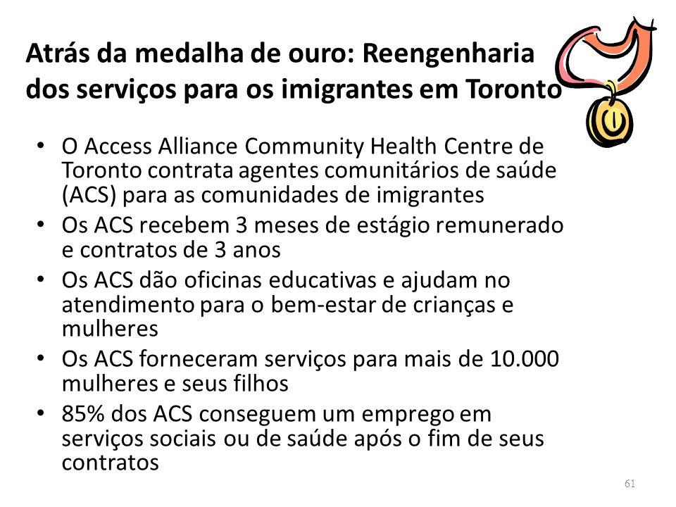 Atrás da medalha de ouro: Reengenharia dos serviços para os imigrantes em Toronto O Access Alliance Community Health Centre de Toronto contrata agente