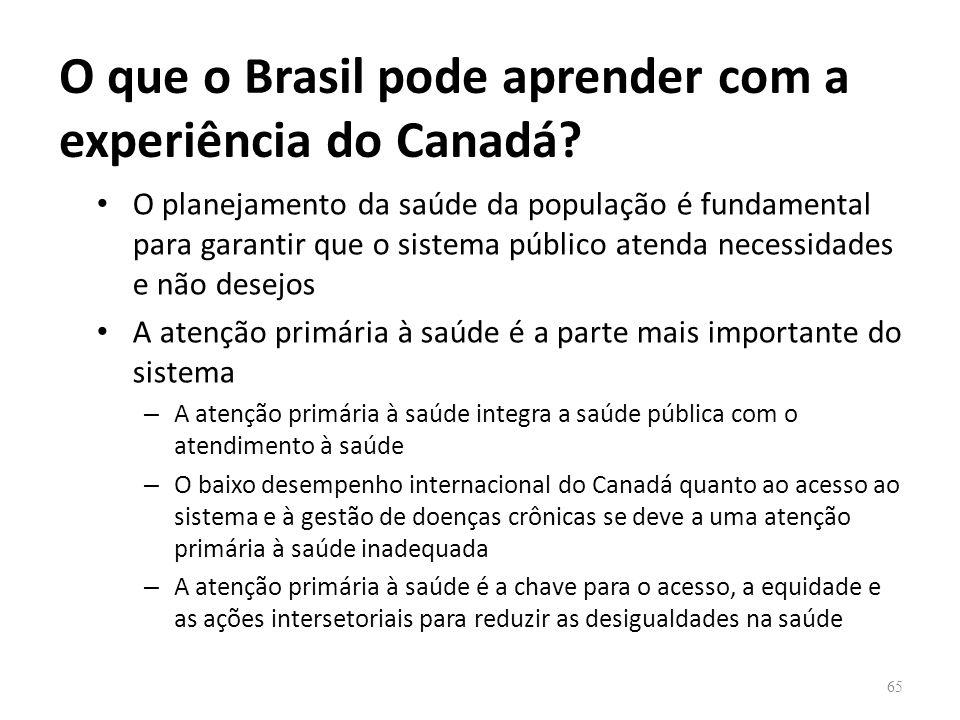 O que o Brasil pode aprender com a experiência do Canadá? O planejamento da saúde da população é fundamental para garantir que o sistema público atend