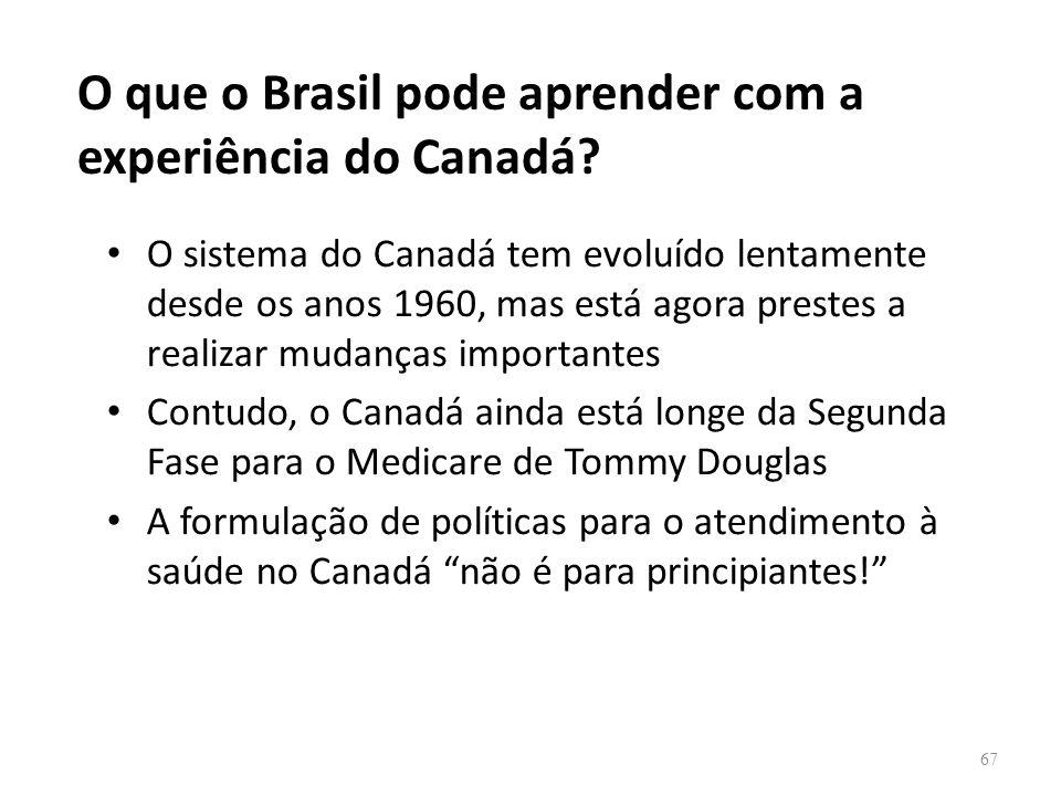 O que o Brasil pode aprender com a experiência do Canadá? O sistema do Canadá tem evoluído lentamente desde os anos 1960, mas está agora prestes a rea