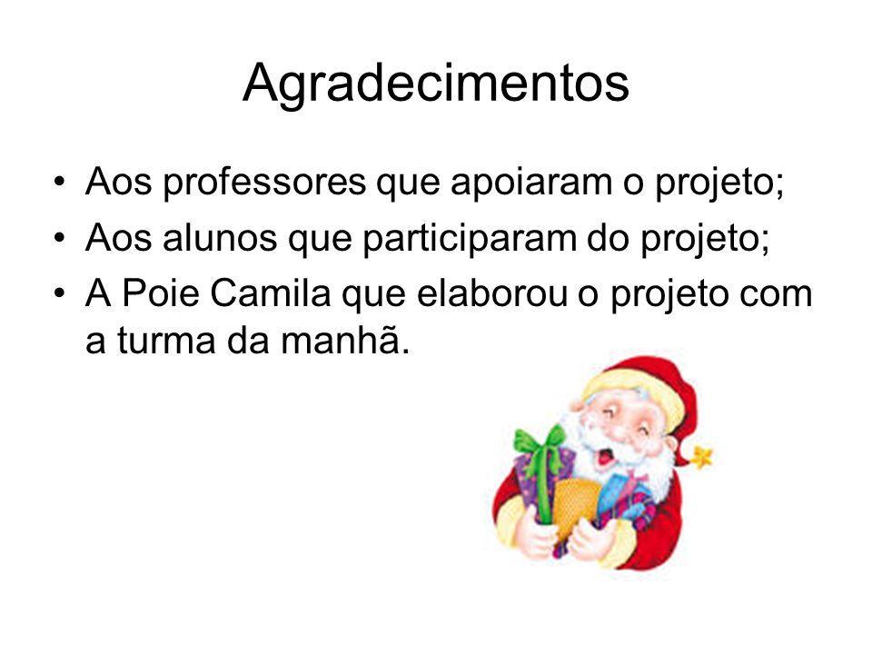 Agradecimentos Aos professores que apoiaram o projeto; Aos alunos que participaram do projeto; A Poie Camila que elaborou o projeto com a turma da man