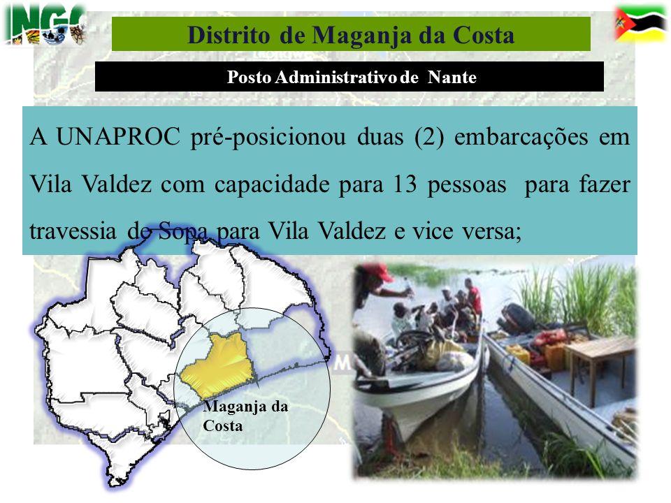 Distrito de Maganja da Costa Posto Administrativo de Nante A UNAPROC pré-posicionou duas (2) embarcações em Vila Valdez com capacidade para 13 pessoas