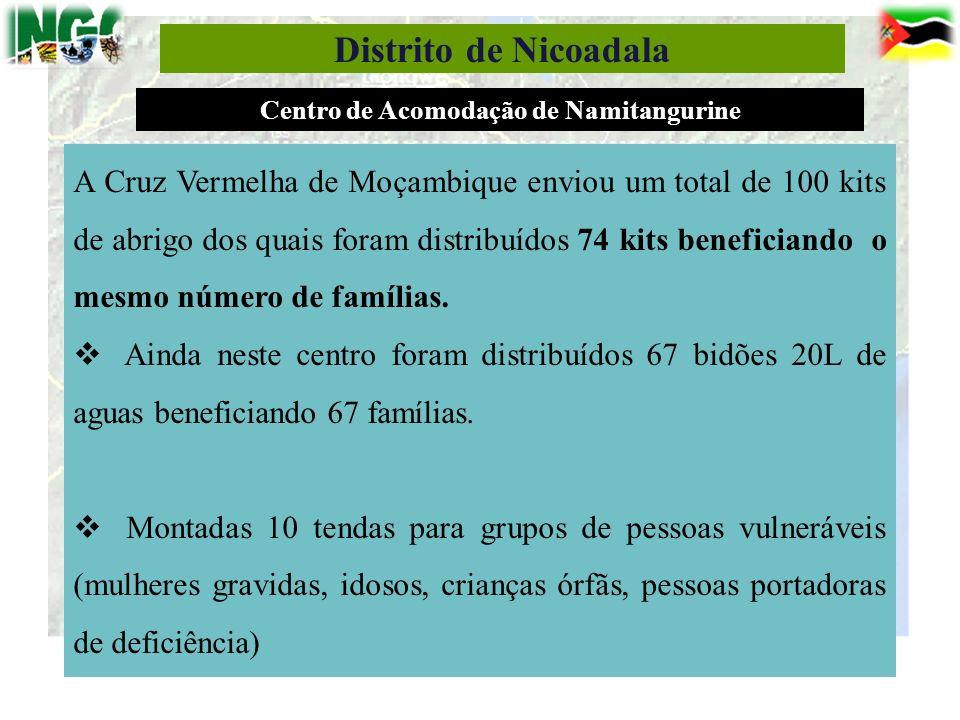 13 Distrito de Nicoadala A Cruz Vermelha de Moçambique enviou um total de 100 kits de abrigo dos quais foram distribuídos 74 kits beneficiando o mesmo