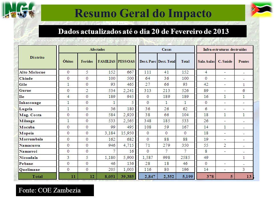 Resumo Geral do Impacto 16 Fonte: COE Zambezia Dados actualizados até o dia 20 de Fevereiro de 2013