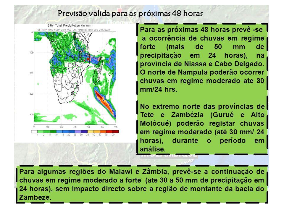 Previsão V á lida para os próximos 5 dias (22 a 27 de Fevereiro de 2013) Durante os próximos 5 dias, prevê-se a persistência de chuvas intensas (100 a 200 mm acumulado em 5 dias) sobre as províncias do Niassa, Cabo Delgado e Nampula.