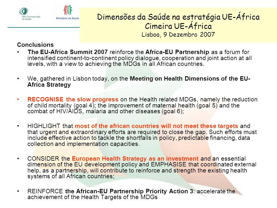 Dimensões da Saúde na estratégia UE-África Cimeira UE-África Lisboa, 9 Dezembro 2007 Conclusions The EU-Africa Summit 2007 reinforce the Africa-EU Par