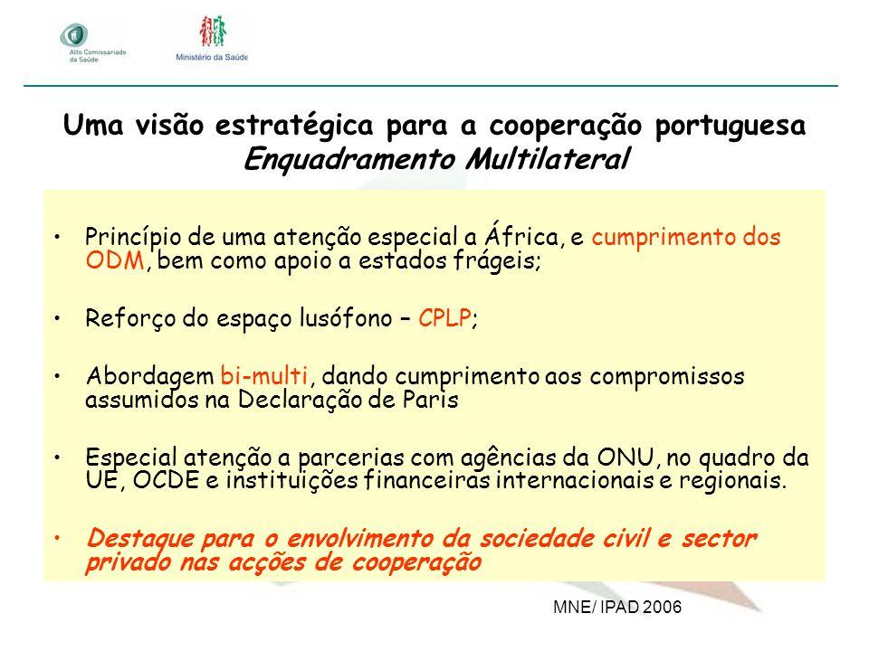 Uma visão estratégica para a cooperação portuguesa Enquadramento Multilateral Princípio de uma atenção especial a África, e cumprimento dos ODM, bem c