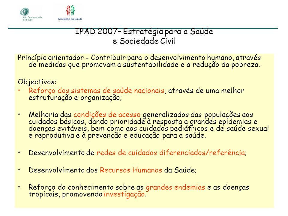 IPAD 2007– Estratégia para a Saúde e Sociedade Civil Princípio orientador - Contribuir para o desenvolvimento humano, através de medidas que promovam
