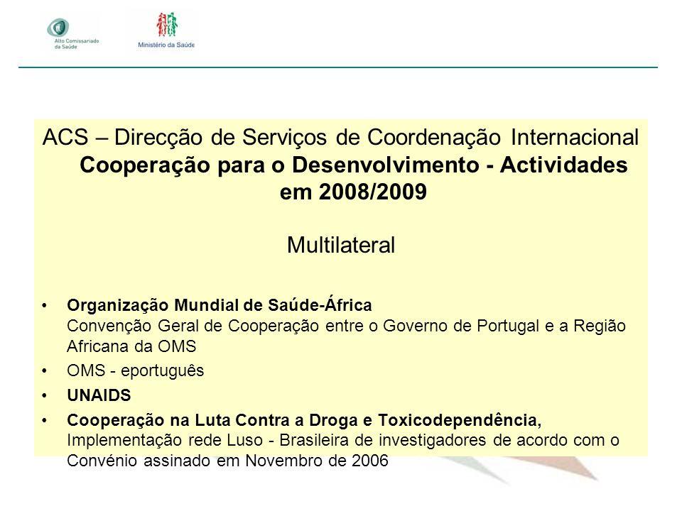 ACS – Direcção de Serviços de Coordenação Internacional Cooperação para o Desenvolvimento - Actividades em 2008/2009 Multilateral Organização Mundial