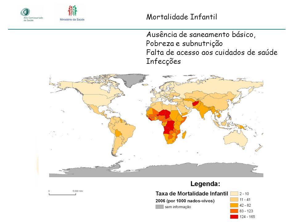 Mortalidade Infantil Ausência de saneamento básico, Pobreza e subnutrição Falta de acesso aos cuidados de saúde Infecções