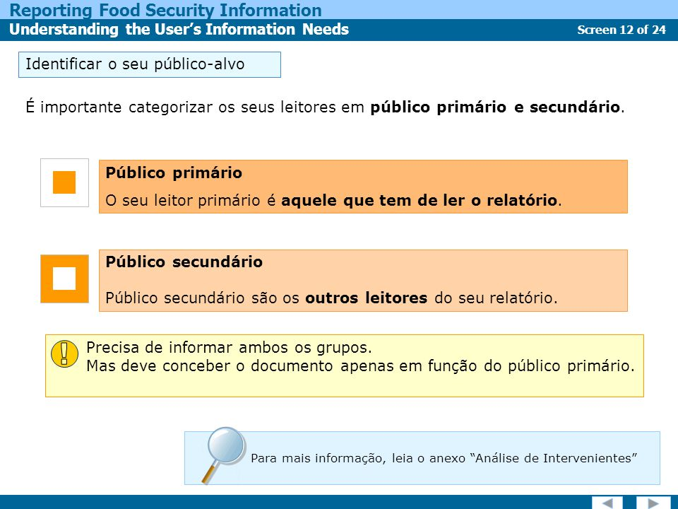 Screen 12 of 24 Reporting Food Security Information Understanding the Users Information Needs É importante categorizar os seus leitores em público pri