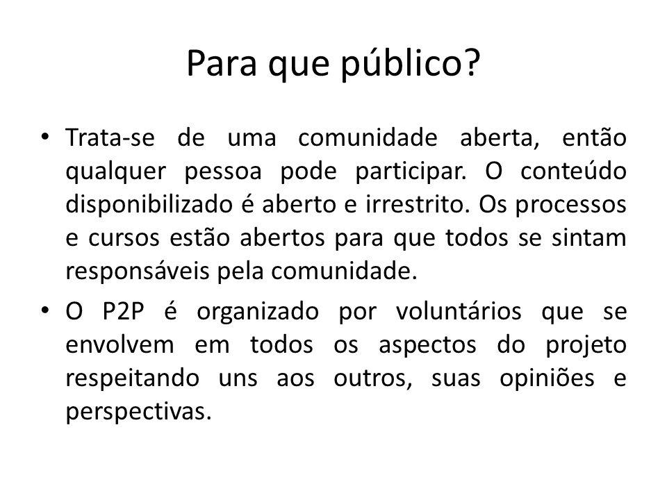 Para que público? Trata-se de uma comunidade aberta, então qualquer pessoa pode participar. O conteúdo disponibilizado é aberto e irrestrito. Os proce