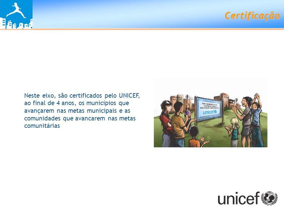 Certificação Neste eixo, são certificados pelo UNICEF, ao final de 4 anos, os municípios que avançarem nas metas municipais e as comunidades que avanc