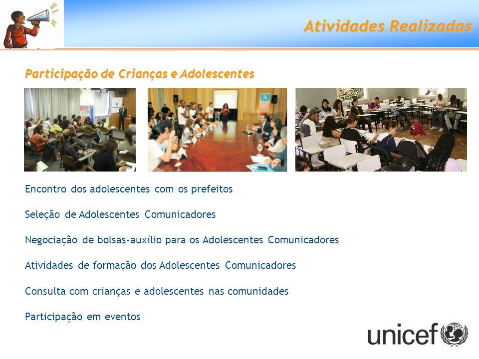 Atividades Realizadas Participação de Crianças e Adolescentes Encontro dos adolescentes com os prefeitos Seleção de Adolescentes Comunicadores Negocia