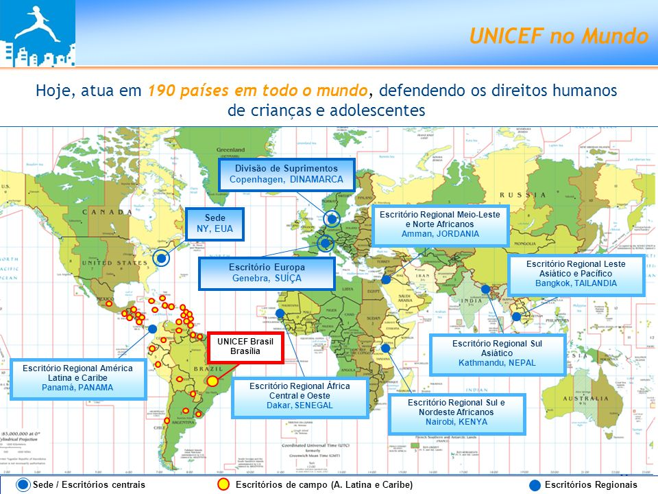 UNICEF no Brasil: presente desde 1950 MANAUS BELÉM SÂO LUÍS FORTALEZA RECIFE SALVADOR RIO DE JANEIRO SÂO PAULO UNICEF Brasil Escritório da Representante Brasília - DF