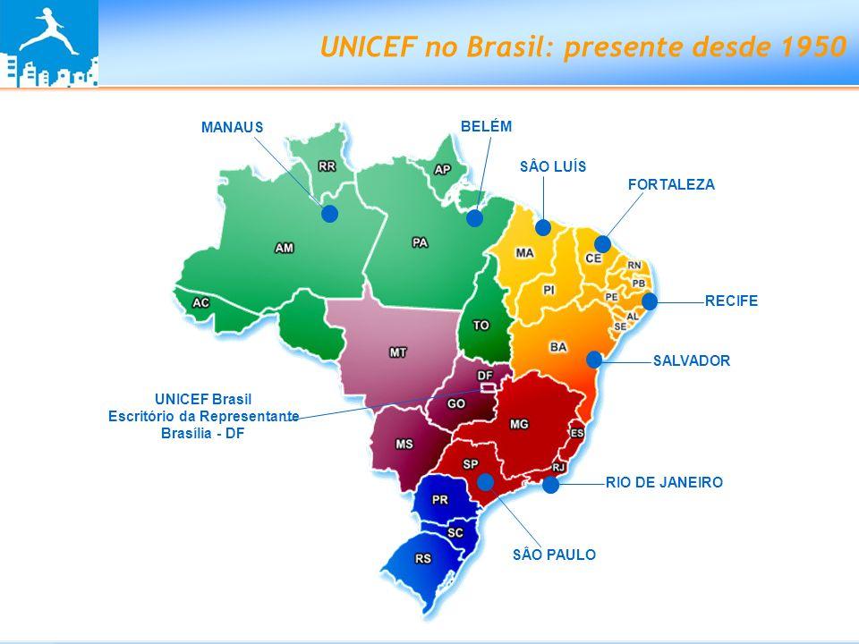 Programa de Cooperação do UNICEF no Brasil 2007-2011 Para o período de 2007 a 2011, tem como prioridades assegurar o direito de cada criança e adolescente a: SOBREVIVER E SE DESENVOLVER APRENDER PROTEGER(-SE) DO HIV/AIDS CRESCER SEM VIOLÊNCIA SER PRIORIDADE ABSOLUTA NAS POLÍTICAS PÚBLICAS Plataformas: Semiárido Amazônia Centros Urbanos