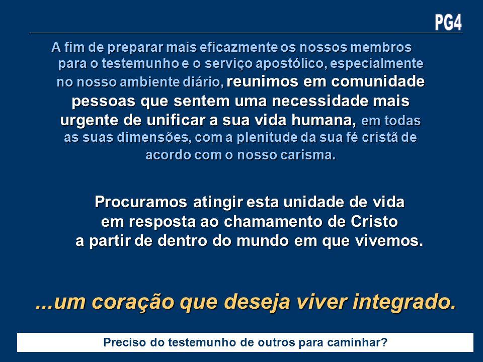 A fim de preparar mais eficazmente os nossos membros para o testemunho e o serviço apostólico, especialmente no nosso ambiente diário, reunimos em com