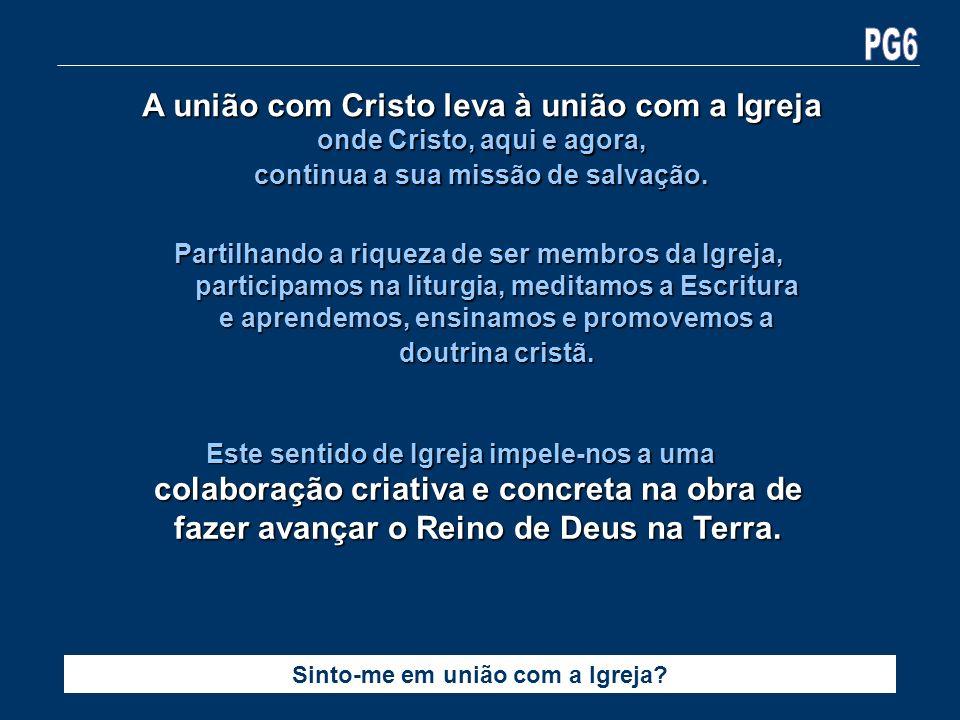 A união com Cristo leva à união com a Igreja onde Cristo, aqui e agora, continua a sua missão de salvação. Sinto-me em união com a Igreja? Partilhando