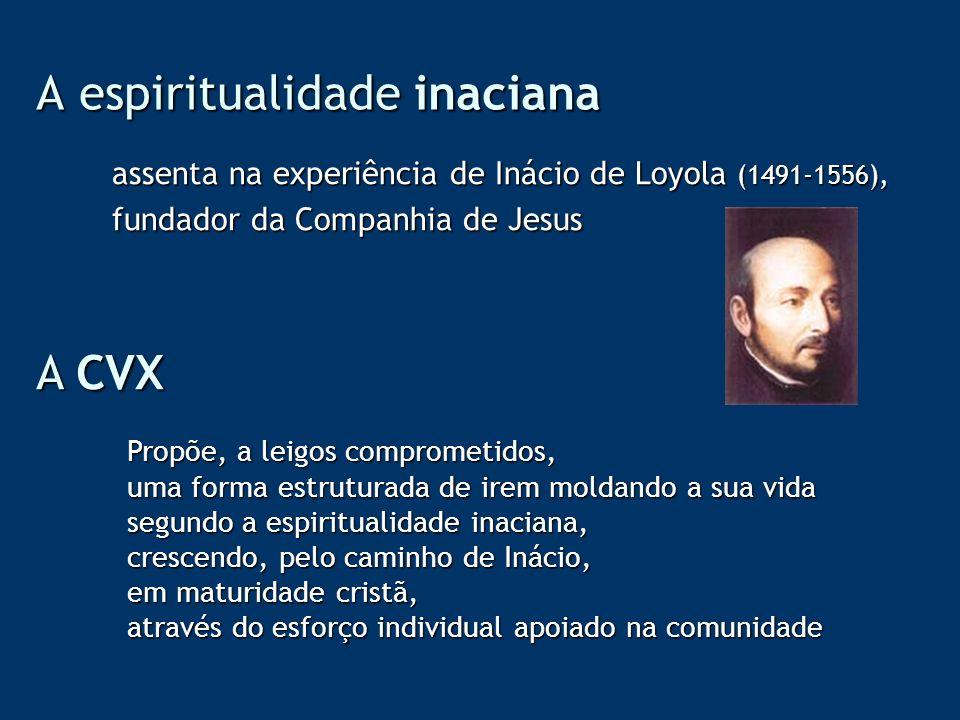 A espiritualidade inaciana assenta na experiência de Inácio de Loyola (1491-1556), fundador da Companhia de Jesus A CVX Propõe, a leigos comprometidos