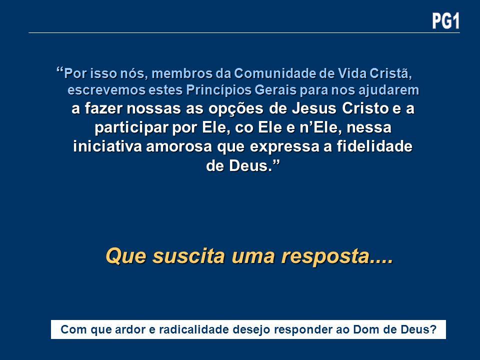 Por isso nós, membros da Comunidade de Vida Cristã, escrevemos estes Princípios Gerais para nos ajudarem a fazer nossas as opções de Jesus Cristo e a
