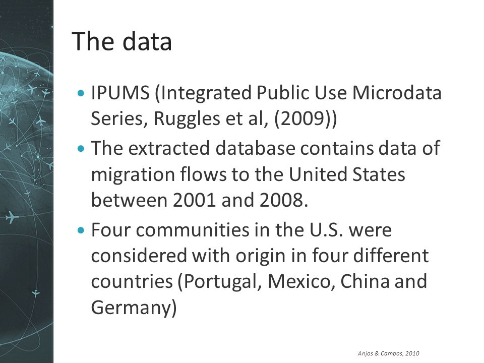 Anjos & Campos, 2010 The data IPUMS (Integrated Public Use Microdata Series, Ruggles et al, (2009)) The extracted database contains data of migration flows to the United States between 2001 and 2008.