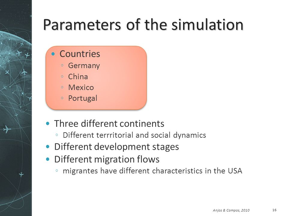 Anjos & Campos, 2010 Parameters of the simulation Countries Germany China Mexico Portugal Three different continents Different terrritorial and social dynamics Different development stages Different migration flows migrantes have different characteristics in the USA 16