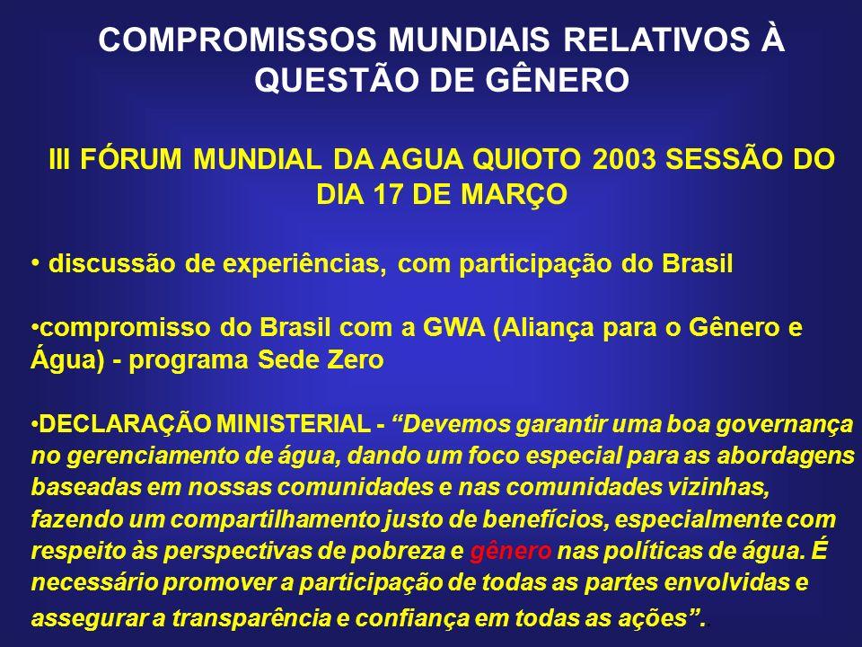 III FÓRUM MUNDIAL DA AGUA QUIOTO 2003 SESSÃO DO DIA 17 DE MARÇO discussão de experiências, com participação do Brasil compromisso do Brasil com a GWA