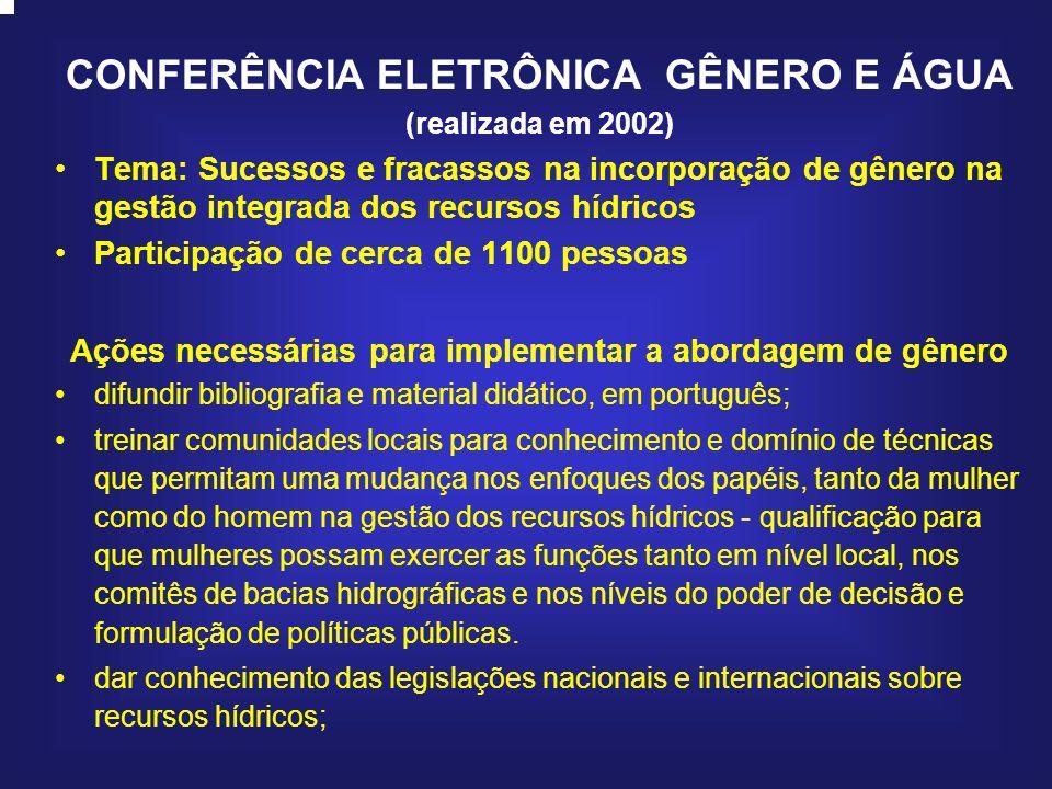 CONFERÊNCIA ELETRÔNICA GÊNERO E ÁGUA (realizada em 2002) Tema: Sucessos e fracassos na incorporação de gênero na gestão integrada dos recursos hídrico