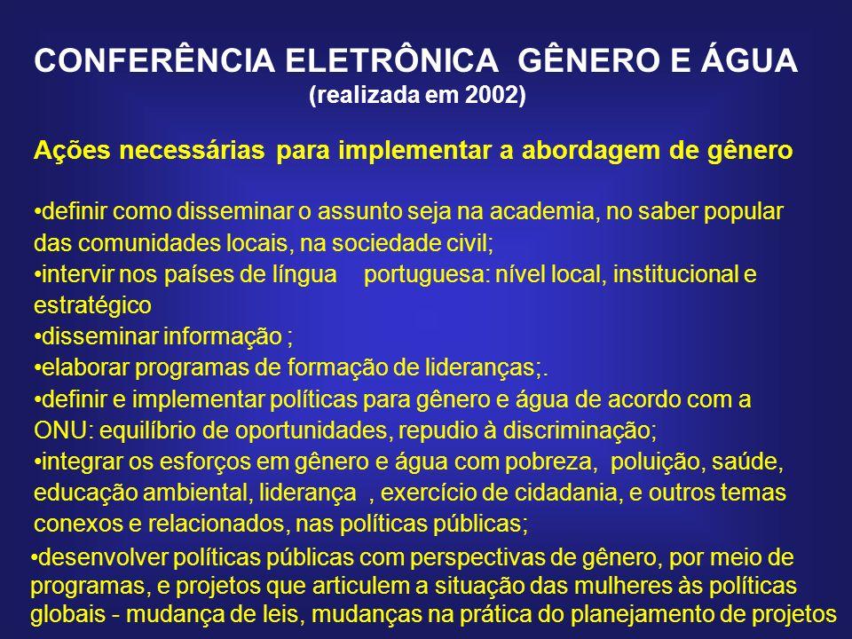 CONFERÊNCIA ELETRÔNICA GÊNERO E ÁGUA (realizada em 2002) Ações necessárias para implementar a abordagem de gênero definir como disseminar o assunto se