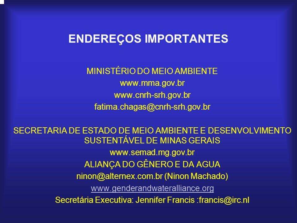MINISTÉRIO DO MEIO AMBIENTE www.mma.gov.br www.cnrh-srh.gov.br fatima.chagas@cnrh-srh.gov.br SECRETARIA DE ESTADO DE MEIO AMBIENTE E DESENVOLVIMENTO S