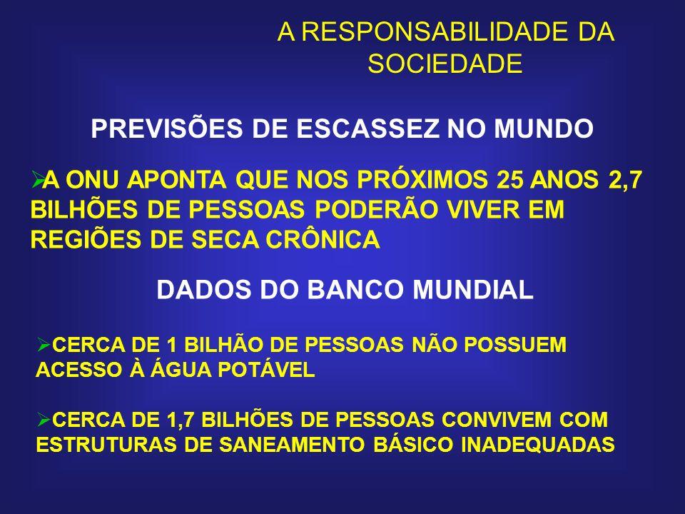 MAIS DE 3 MILHÕES DE PESSOAS POR ANO, NA MAIORIA CRIANÇAS, MORREM DE DOENÇAS RELACIONADAS AO USO DA ÁGUA POLUÍDA O USO DE ÁGUA POLUÍDA É RESPONSÁVEL PELA TRANSMISSÃO DE DOENÇAS A MAIS DE 1 BILHÃO DE PESSOAS POR ANO Continuação DADOS DO BANCO MUNDIAL