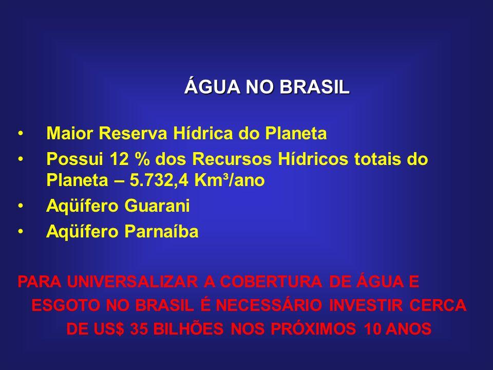 ÁGUA NO BRASIL Maior Reserva Hídrica do Planeta Possui 12 % dos Recursos Hídricos totais do Planeta – 5.732,4 Km³/ano Aqüífero Guarani Aqüífero Parnaí