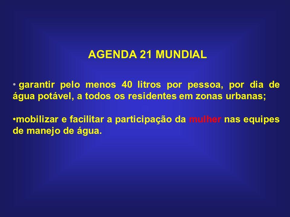 AGENDA 21 MUNDIAL garantir pelo menos 40 litros por pessoa, por dia de água potável, a todos os residentes em zonas urbanas; mobilizar e facilitar a p