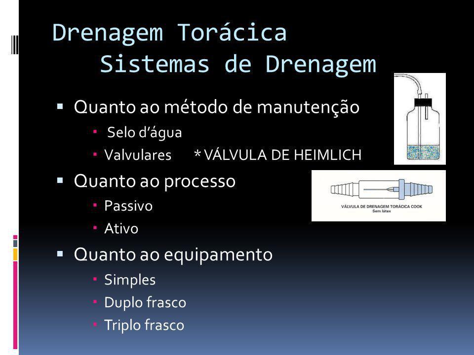 Quanto ao método de manutenção Selo dágua Valvulares * VÁLVULA DE HEIMLICH Quanto ao processo Passivo Ativo Quanto ao equipamento Simples Duplo frasco