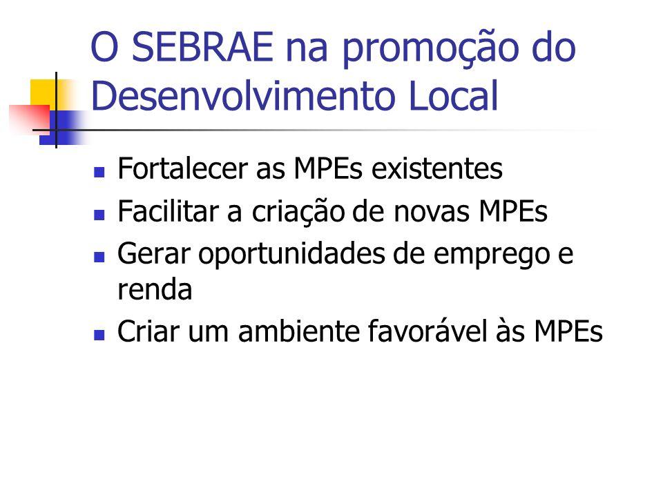 O SEBRAE na promoção do Desenvolvimento Local Promover a inclusão social pela via do empreendedorismo Promover a competitividade e a sustentabilidade das MPEs