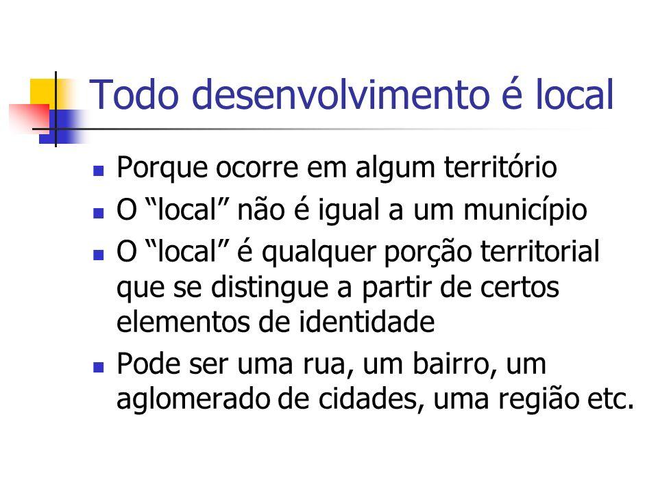 Todo desenvolvimento é local Os elementos de identidade podem ser: Físico-territoriais Étnico-culturais Sócio-econômicos Político-institucionais