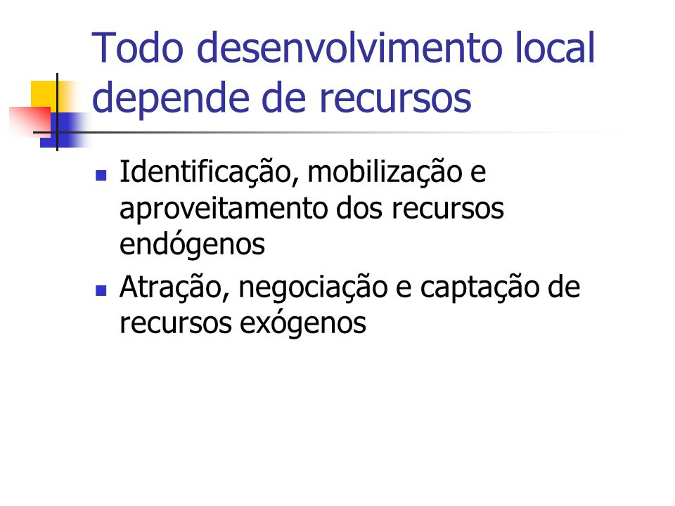 A Metodologia Organização dos atores locais Identificação dos ativos locais Planejamento e pactuação do desenvolvimento local Apoio ao empreendedorismo local