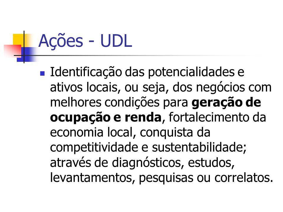 Ações - UDL Construção de acordos ou pactos entre os atores locais quanto ao processo de desenvolvimento do território, através de planos, projetos, agendas ou correlatos.