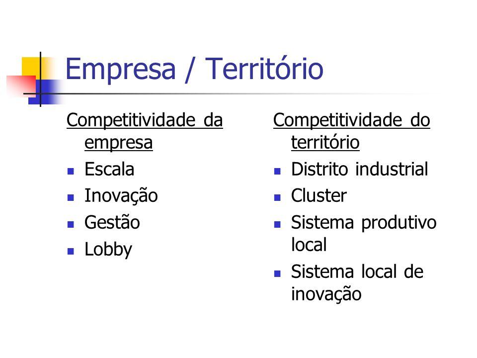 Empresa / Território Objetivos Densidade empresarial Dinamismo sócio-econômico Especialização produtiva do território