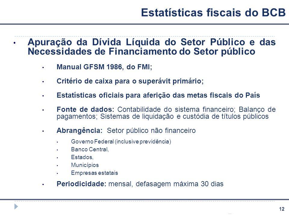 12 Estatísticas fiscais do BCB Apuração da Dívida Líquida do Setor Público e das Necessidades de Financiamento do Setor público Manual GFSM 1986, do F