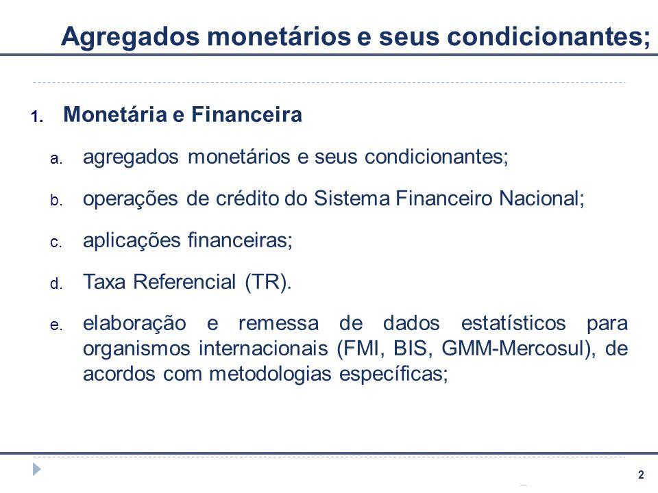 2 Agregados monetários e seus condicionantes; 1. Monetária e Financeira a. agregados monetários e seus condicionantes; b. operações de crédito do Sist