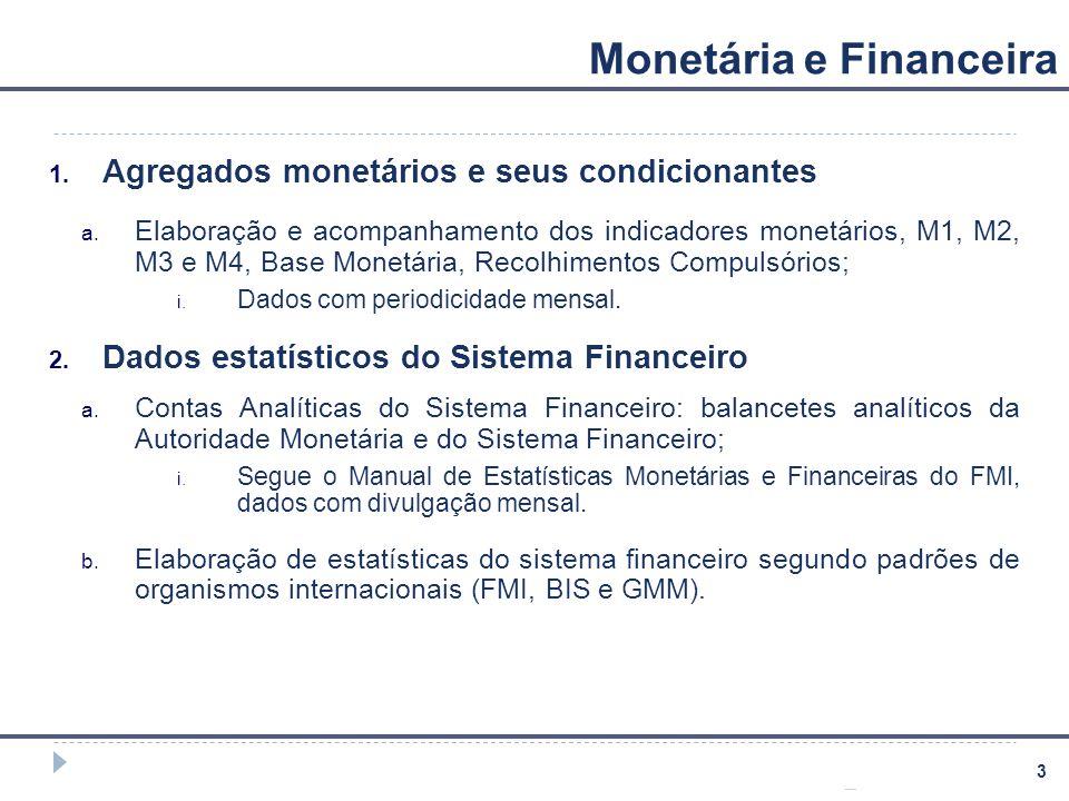 3 Monetária e Financeira 1. Agregados monetários e seus condicionantes a. Elaboração e acompanhamento dos indicadores monetários, M1, M2, M3 e M4, Bas