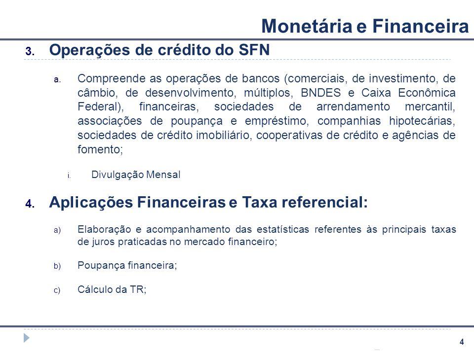 4 Monetária e Financeira 3. Operações de crédito do SFN a. Compreende as operações de bancos (comerciais, de investimento, de câmbio, de desenvolvimen